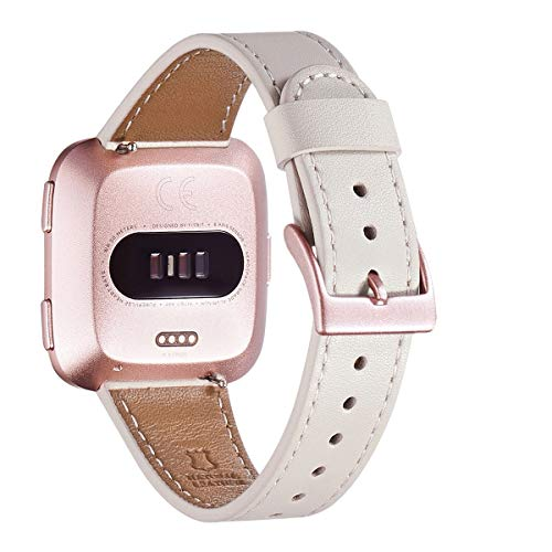 WFEAGL for Fitbit Versa Band, Top Grain Leather Band Replacement Strap for Fitbit Versa Fitness Smart Watch (Ivory White Band+Rosegold Buckle)