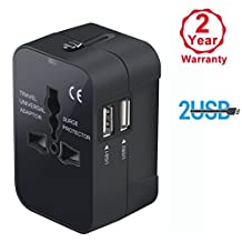 Travel Adapter, Worldwide All in One Universal Power Converters Wall AC Power Plug Adapter Power Plug Wall Charger with Dual USB Charging Ports for USA EU UK AUS Cell phone laptop (Black)