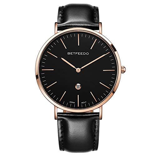 - Betfeedo Ultra-Thin Quartz Analog Stainless Steel Case Dress Watches for Men with Genuine Leather Strap & Date Window
