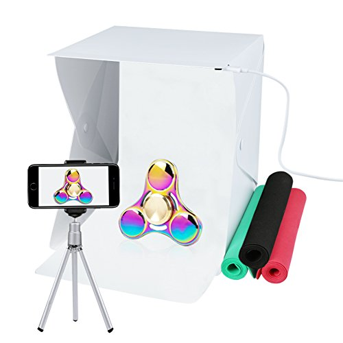 Portable Photo Studio, URiver LED Light Box Photography - Foldable Photo Shooting - Tent White/Black/Green/Red Background with a Built-in Dimmer Device by URiver