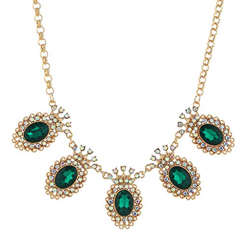 Tuscom Hot Sale Women's Crystal Bib Statement Necklace Vintage Chain Collar Necklace New Fashion Gemstones Stone Birthstone Pendant Necklace Strand Necklaces for Women Girls Party Jewelry (Green)
