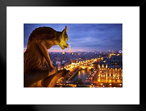 Notre Dame Cathedral Gargoyle Paris at Night Photo Art Print Matted Framed Poster 20x26 inch ()