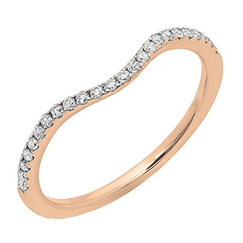 Dazzlingrock Collection 0.20 Carat (ctw) 14K Round Diamond Ladies Wedding Contour Guard Band 1/5 CT, Rose Gold, Size 7