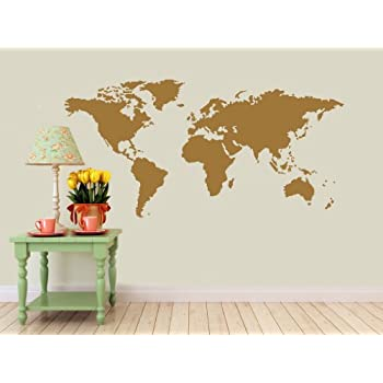 Amazon detailed world map wall decal gold metallic detailed world map wall decal gold metallic measures 22 gumiabroncs Images