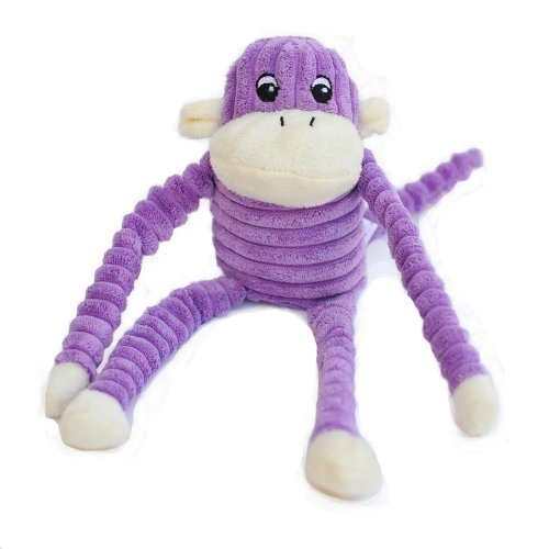 ZippyPaws Spencer the Crinkle Monkey Purple- Squeaky Plush Dog - Plush Squeaky