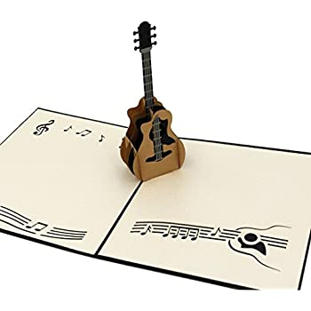 IShareCards Handmade 3D Pop-up Thank You Greeting Cards Rock Music Concert - Music Theme (Guitar Black)