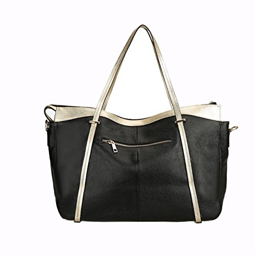 Ankareeda Casual Genuine Leather Handbag Large Capacity Cow Tote Women Shoulder Messenger Shopping Bag (black)