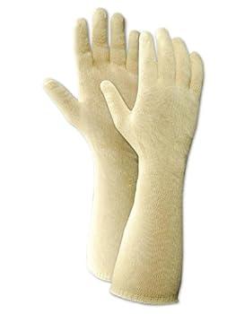 "Magid CutMaster 1365114COT Cotton Glove, Knit Wrist Cuff, 14"" Length, Men's  (One Dozen)"