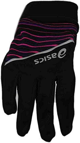 Asics Running Gloves (ASICS PR Shelter Glove, Black/Berry Stripe, Small/Medium)