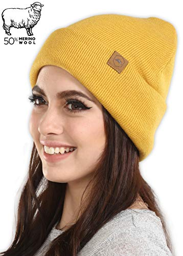 (Tough Headwear Merino Wool Cuff Beanie Watch Cap - Warm, Soft & Stretchy Knit Hats for Men & Women - Skull Cap for Daily Use - Winter Toboggans for Outdoor Expeditions)