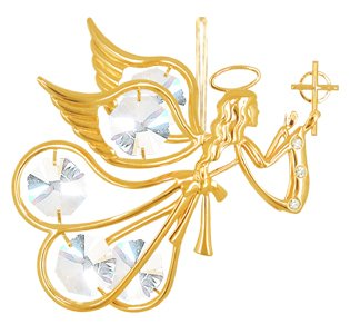 (Set of 2 Ornaments - 24k Gold Plated Angel W/clear Swarovski Austrian)