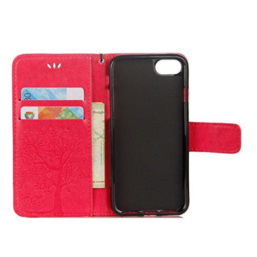 pour Protection iPhone Herbests Pochette iPhone de à Plus 6 Etui 6 Coque Cuir Housse iPhone Rabat pour Magnétique Etui 6S Plus en 6S Plus Rouge C Coque 6S Rose de Housse Motif Plus Plus 6 Plus de Protection avec vn65O0zHq6