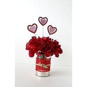 Valentine Flower Arrangement, burlap, floral arrangement, gift for her, Valentine's Day decoration, home decor 51