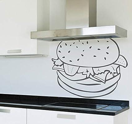 pegatina de pared frases Pegatina de la pared del esquema de la hamburguesa para el restaurante de la cocina: Amazon.es: Bricolaje y herramientas