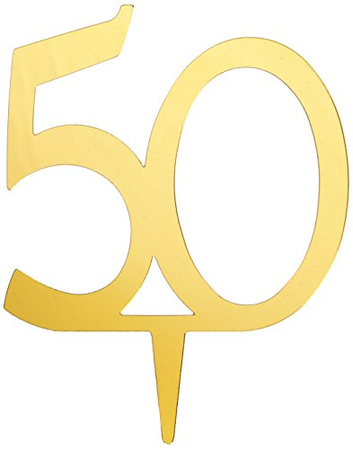 Darice VL350NUM Mirror Acrylic Number 50-Cake Topper, Gold, 4-Inch - Gold Anniversary Cake