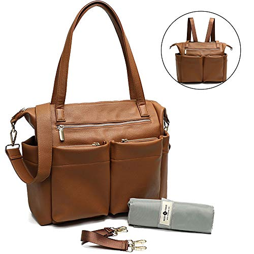 (Leather Diaper Bag Backpack By Miss Fong, Baby Bag, Diaper Bag Tote With Changing Pad, In Bag Organizer, Stroller Straps, Insulated Pockets and Shoulder Strap (Brown))