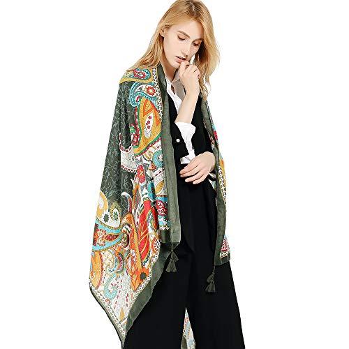 HULKAY Shawls and Wraps Elegant Imitation Cashmere Scarf for Women Stylish Warm Blanket Solid Winter Scarves(Green)
