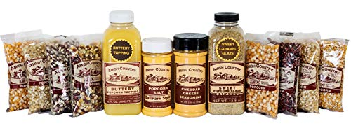 Amish Country Popcorn - Stovetop Popping Sampler Pack (8-4 Ounce Variety Popcorns, Buttery Topping, BallPark Style Butter Salt & Seasonings, & Sweet Caramel Glaze)