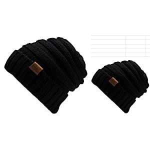 Chalier 2 Pack Winter Warm Knit Baggy Slouchy Pom Pom Beanie Hat for Mom & Baby