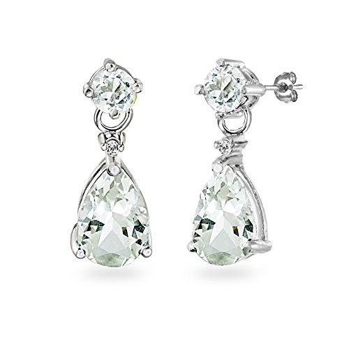 (Sterling Silver Green Amethyst Teardrop Dangle Earrings)