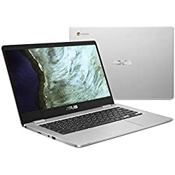 "ASUS Chromebook C423NA-DH02 14.0"" HD NanoEdge Display, 180 Degree, Intel Dual Core Celeron Processor, 4GB RAM, 32GB eMMC Storage, Silver Color"