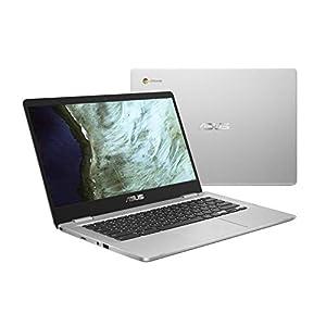 ASUS Chromebook Laptop- 14.0″ HD 180 Degree NanoEdge Display, Intel Dual Core Celeron N3350 Processor, 4GB RAM, 32GB eMMC Storage, USB Type-A and Type-C, Chrome OS- C423NA-DH02 Silver