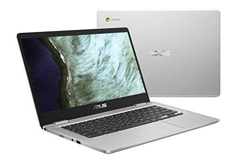 ASUS Chromebook Laptop- 14.0″ HD 180 Degree NanoEdge Display, Intel Dual Core Celeron N3350 Processor, 4GB RAM, 32GB eMMC Storage, USB Type-A and Type-C, Chrome OS- C423NA-DH02 Silver