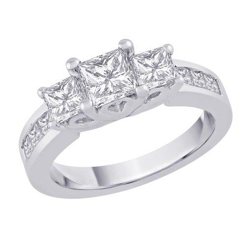 Three Stone Plus Princess Cut Diamond Ring in 14K White Gold (2 cttw)