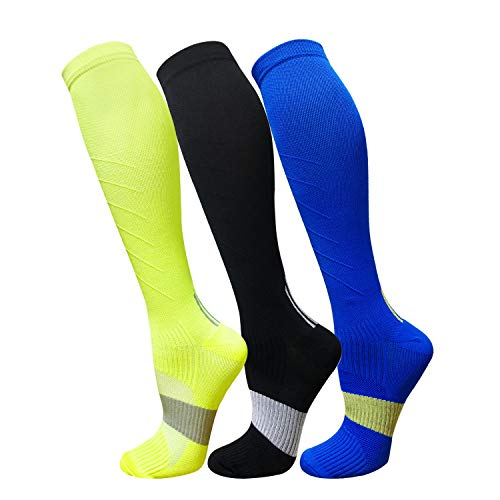 (Compression Socks For Men & Women(3 Pairs)- Best For Running,Athletic,Medical,Pregnancy and Travel -15-20mmHg (S/M, Multicoloured 6))