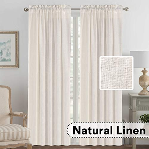 H.VERSAILTEX 2 Panels Ultra Luxurious Natural Linen Blended Light Filtering Curtains Breathable and Airy Window Treatment Drapes with Rod Pocket Top for Bedroom, Extra Long 108 - Inch, Natural (Window Panels 108 Length)