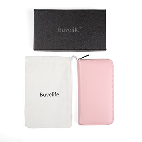Buvelife Credit Card Wallet Leather RFID Wallet with Zipper for Women or Men, Huge Storage Capacity Credit Card Holder (lovely Pink) by Buvelife (Image #7)