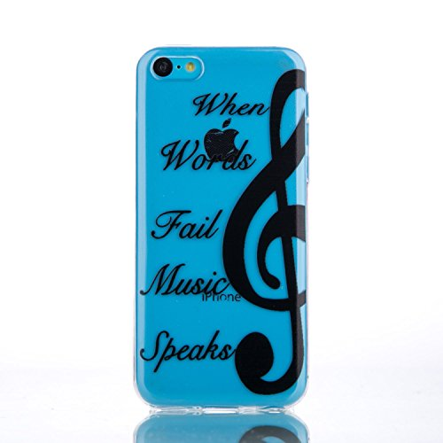 Apple iPhone 5C Blue Protective Case, GreenDimension Protective Ultra Thin Soft Crystal Clear Translucent Flexible Creative Premium TPU Rubber Bumper Cushion Silicone Hybrid Cover - Black Music Note