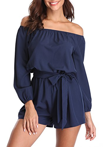 (MISS MOLY Rompers for Women Boat Neck Off The Shoulder Strapless Mid Rise Casual Jumpsuit w Belt)