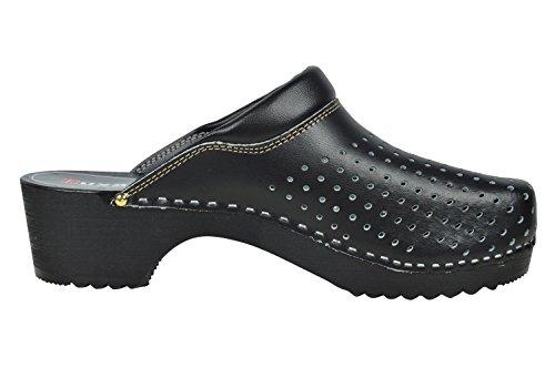 Buxa Zuecos de Cuero Unisexo con suela de Madera y el relleno, Agujero Diseño Negro
