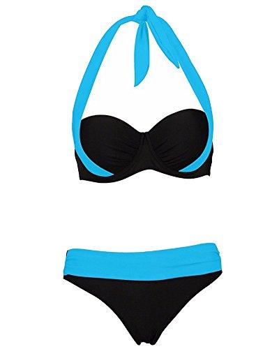 YipGrace ffascinante Da donna Doppia colorata Imbottito Push Up capestro Bikini Reggiseno Costume da bagno Beachwear Lago Blu NeroDY