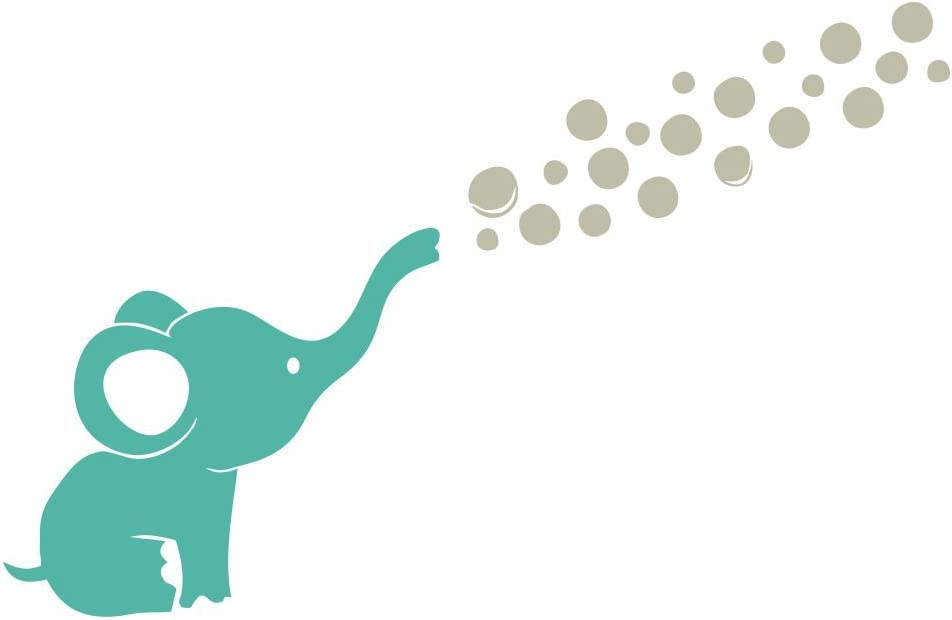 Wall Decor Plus More WDPM3726 Elephant Wall Decal with Floating Bubbles, Cool Nursery Room Decor, Turquoise, Warm Gray, 44x28