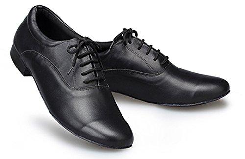 TDA Herrenmode Lace-up Schwarz Leder 1 Zoll Salsa Tango Ballsaal Latin Modern Dance Schuhe Schwarz