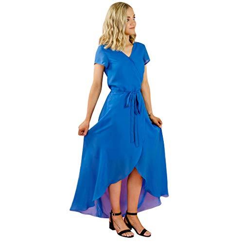 Botrong Dress for Women Short Sleeve Solid Irregular Family Clothes Dress (Blue,XXL)