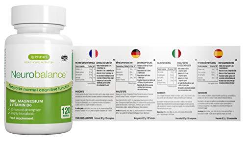 Neurobalance - ZMA metionina de zinc, magnesio y vitamina B6 - Suplemento para la función cerebral y apoyo del rendimiento mental, 120 tabletas: Amazon.es: ...