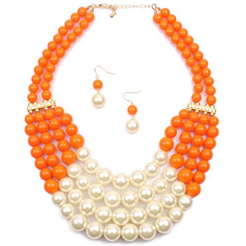 Lanue Women Fashion Jewelry Set Pearl Bead Cluster Collar Bib Choker Necklace and Earrings Suit (Orange)