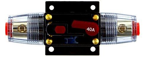 Jex Electronics 40 Amp In-Line Circuit Breaker Stereo/Audio/Car/RV 40A/40AMP Fuse 12V/24V/32V