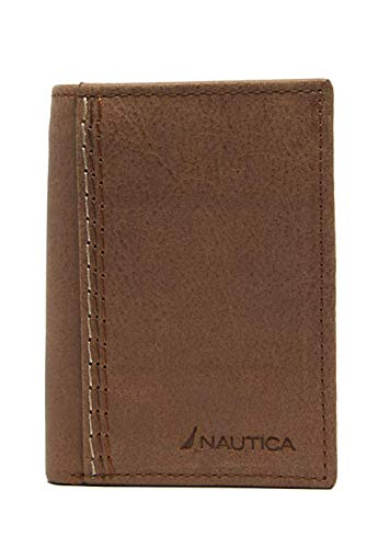Nautica Men's Leather Data Protection Claudio Trifold Wallet (Tan)