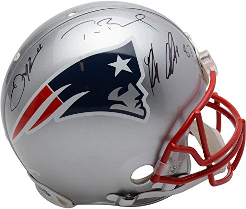 Tom Brady, Rob Gronkowski, Julian Edelman New England Patriots Autographed Riddell Authentic Pro-Line Helmet - Fanatics Authentic Certified ()