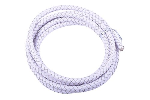White Braided Leather - KONMAY 2 Yards White 6.0mm Round Braided Genuine Bolo Leather Cord For Jewelry and Craft Designs (6.0mm, White)
