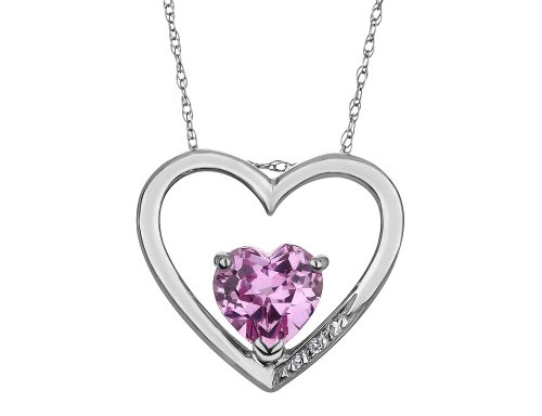 Created Pink Sapphire Heart Pendant Necklace With Diamonds 2/5 Carat (ctw) in Sterling Silver with Chain