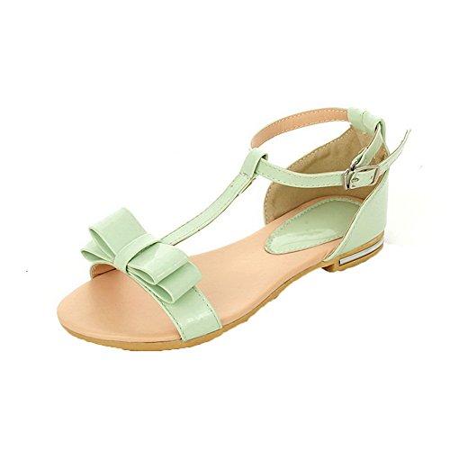 AalarDom Womens Buckle Open-Toe Low-Heels PU Solid Sandals Green eE5M1