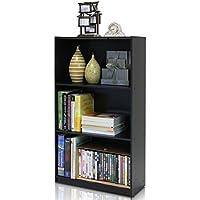 3-Tier Bookcase Storage Shelves, Espresso