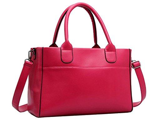 BG® Women Minimalism Tote Style Double Handle Rose Soft Faux Leather Purse Satchel Bag