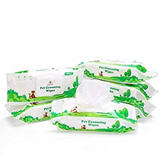 PUPTECK Pet Grooming Wipes for Dogs & Cats - 6 Pack Hypoallergenic Puppy Cleaning Wipes for Ears Eyes Face Butt Paw Body, Fragrance - Free, 80 Counts per Pack