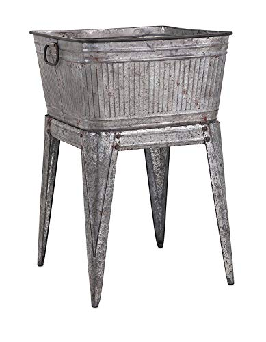 Benzara Multi-Functional Galvanized Metal Tub, -